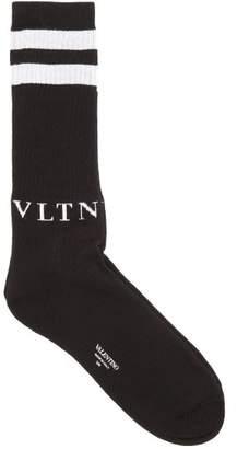 Valentino Intarsia Logo Cotton Blend Socks - Mens - Black