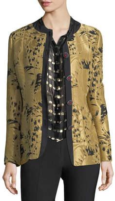 Etro Golden Jacquard Jewel-Button Long-Sleeve Topper Jacket