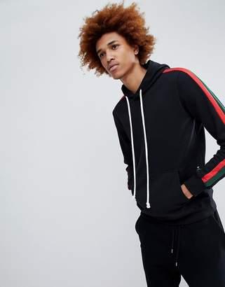Criminal Damage hoodie in black with side stripe