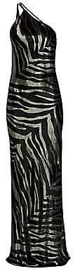 Mason by Michelle Mason Women's Zebra Print Open Back Silk Gown