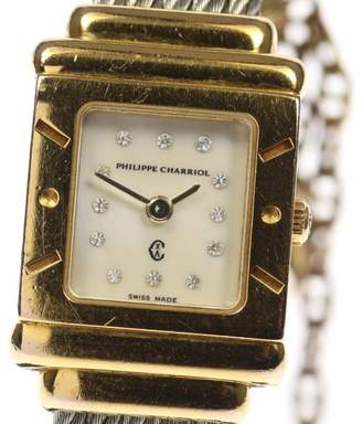 Mother of Pearl Philippe Charriol St.Tropez Stainless Steel / Gold Plated 12P Diamond Quartz 20mm Womens Watch