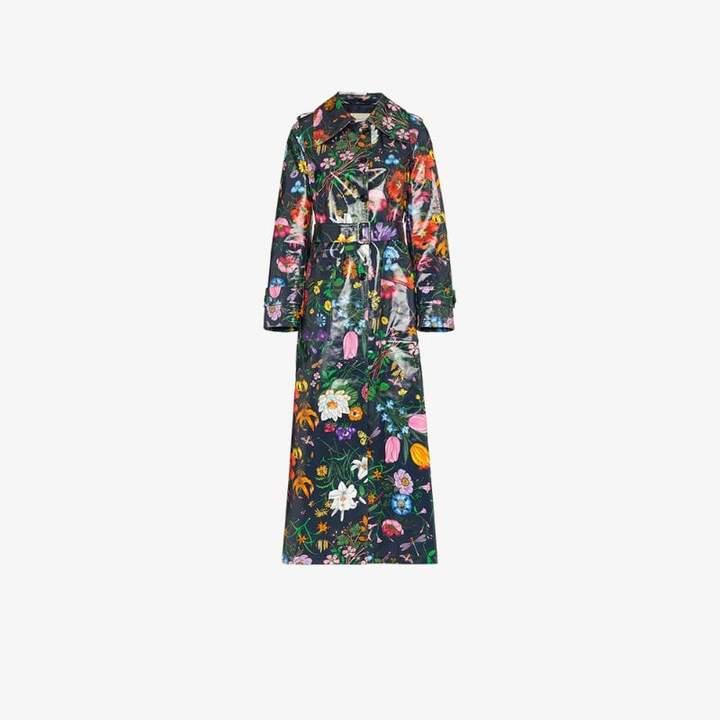 floral vinyl trench coat
