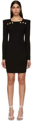 Balmain Black Buttoned Rib Knit Mini Dress