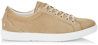 Jimmy Choo CASH Sand Fine Suede Low Top Trainers