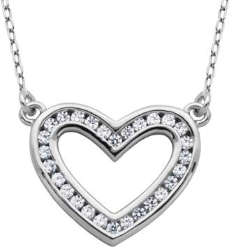 """Diamonique 4/10 cttw Open Heart 18"""" Necklace, Sterling"""