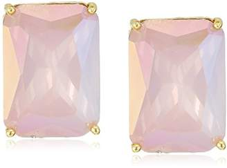 T Tahari Womens Pastel Party Faceted Rectangular Button Clip On Earrings
