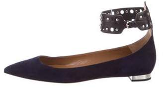 Aquazzura Suede Pointed-Toe Flats Navy Suede Pointed-Toe Flats