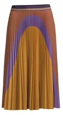 Beatrice. B Women's Colorblock Pleated Midi Skirt - Yellow - Size 38 (0)