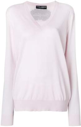 Dolce & Gabbana rear logo v-neck sweater