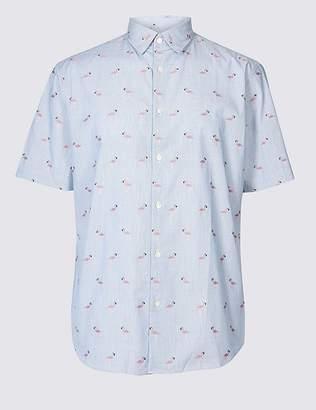 Marks and Spencer Pure Cotton Flamingo Print Shirt