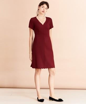 Brooks Brothers Wool-Blend Twill Scalloped-Hem Dress