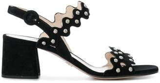 Prada woven strap studded sandals