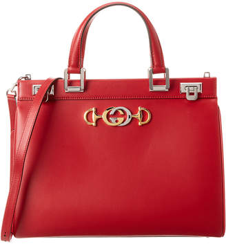 Gucci Zumi Medium Leather Top Handle Tote