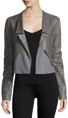 Halston Heritage Long-Sleeve Open-Front Combo Jacket, Charcoal $243 thestylecure.com