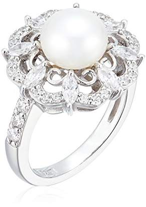 Swarovski Platinum Plated Sterling Silver Zirconia Cultured Freshwater Flower Pearl Ring
