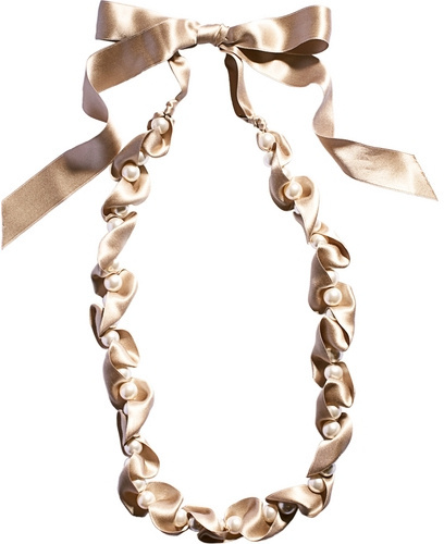 Lanvin Pearls & Fabric Necklace