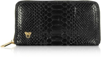 Ghibli Glossy Black Python Leather Continental Wallet