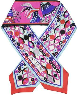Emilio Pucci Multicolor Signature Print Silk Skinny Neck Scarf