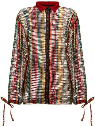 Missoni striped crochet knit shirt