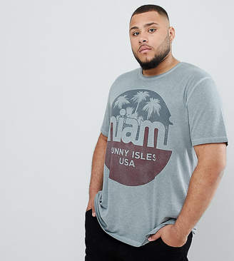 Jack and Jones Originals Plus Size T-Shirt With Vintage Miami Graphic