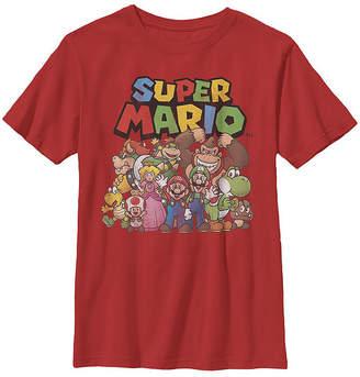 Fifth Sun Super Mario Full Cast Group Shot Classic Boys Crew Neck Short Sleeve T-Shirt Preschool / Big Kid Slim