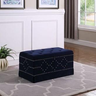 "Ore International 18.5"" in Indigo Blue Velvet Chrome Nailhead Studs Tufted Storage Bench + 2 Seating"