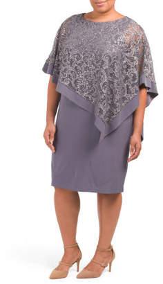 Plus Lace Poncho Sheath Dress
