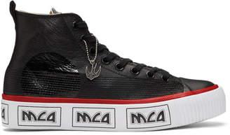 McQ Black and White Metal Logo Platform High-Top Sneakers