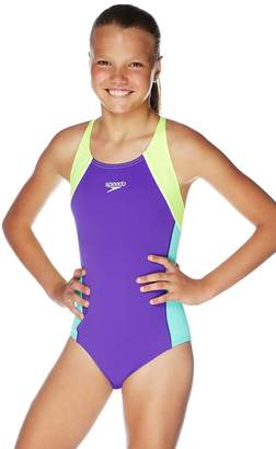 Speedo Girls Splice Cross Back One Piece