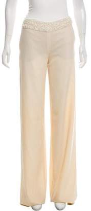 Valentino Embellished Mid-Rise Wide-Leg Pants