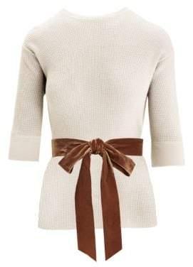 Marc Jacobs Women's Waffle-Knit Cashmere-Blend Crewneck Bow Sweater - Ivory - Size XS