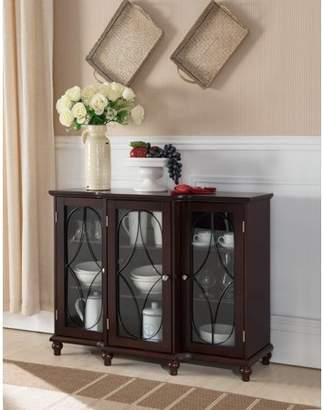 URBAN RESEARCH Pilaster Designs Logan Cherry Wood Contemporary Sideboard Buffet Console Table China Cabinet With Glass & Storage