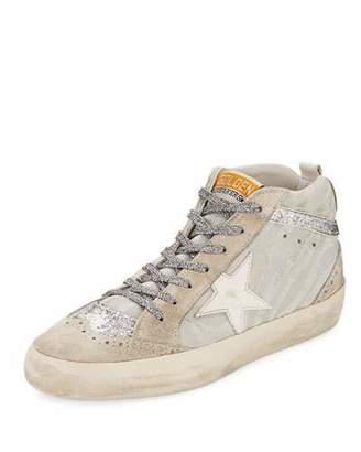 Golden Goose Mid-Top Zebra Star Glitter Sneaker