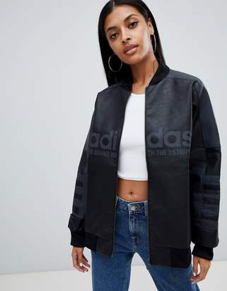 adidas Aa-42 Faux Leather Track Jacket In Black
