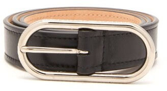 Acne Studios Logo Engraved Buckle Leather Belt - Womens - Black
