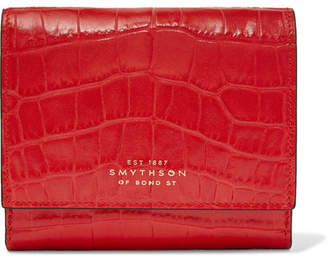 Smythson Mara Croc-effect Leather Wallet - Red