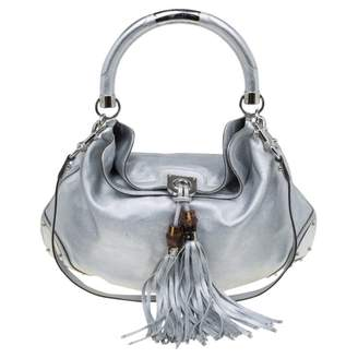Gucci Indy Silver Leather Handbags
