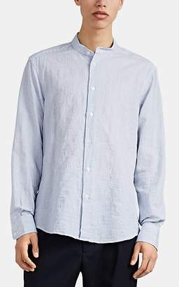 Barena Venezia Men's Pinstriped Cotton Plain-Weave Longline Shirt - Lt. Blue