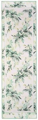 St. John Painted Leaves Print Crinkle Silk Georgette Scarf
