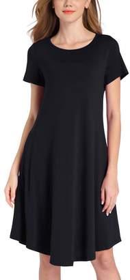 Colyanda Women's Casual Plain Simple T-shirt Loose Midi Dresses with Pockets( L)