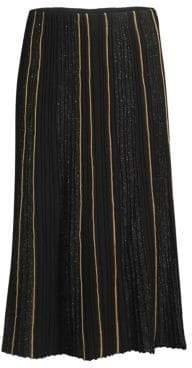 Lafayette 148 New York Ottoman Pleat Sequin Silk Lurex Midi Skirt