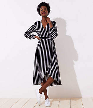 LOFT Striped Midi Wrap Dress