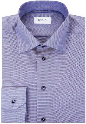 Eton Diagonal Geometric Poplin Shirt