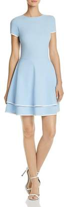Aqua Tiered Piped Fit-and-Flare Dress - 100% Exclusive