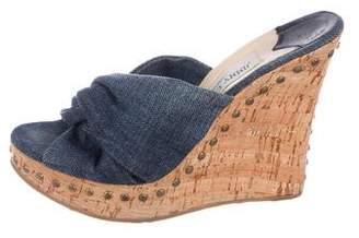 7234c0ac7dba Denim Wedge Sandals - ShopStyle