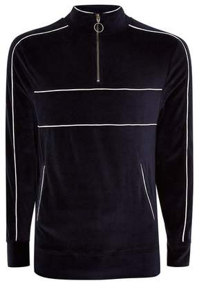 Topman Mens Navy Velour Track Top