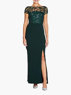 Adrianna Papell Beaded Cap Sleeve Crepe Gown, Dusty Emerald