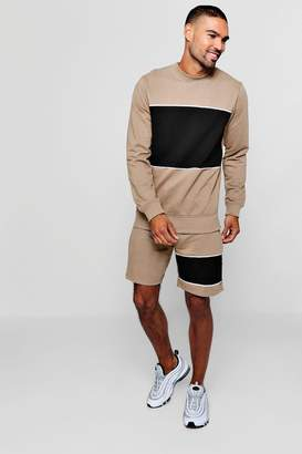 boohoo Sweater Short Tracksuit With Piping