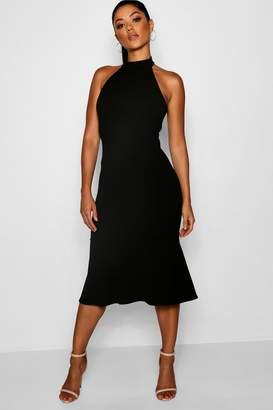 boohoo High Neck Frill Hem Midi Dress