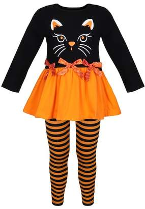 Mia Belle Girls Long Sleeve Ruffle Hem Kitty Tunic & Striped Leggings Set (Toddler, Little Girls, & Big Girls)